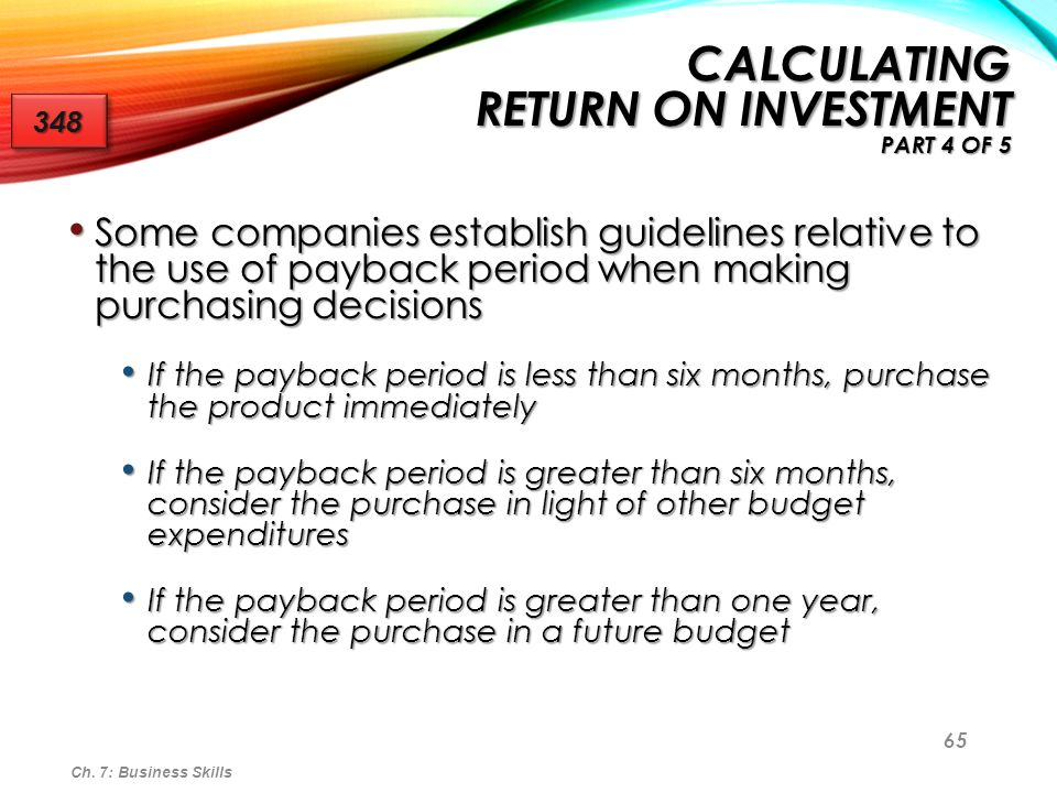 Calculating Return on Investment Part 4 of 5