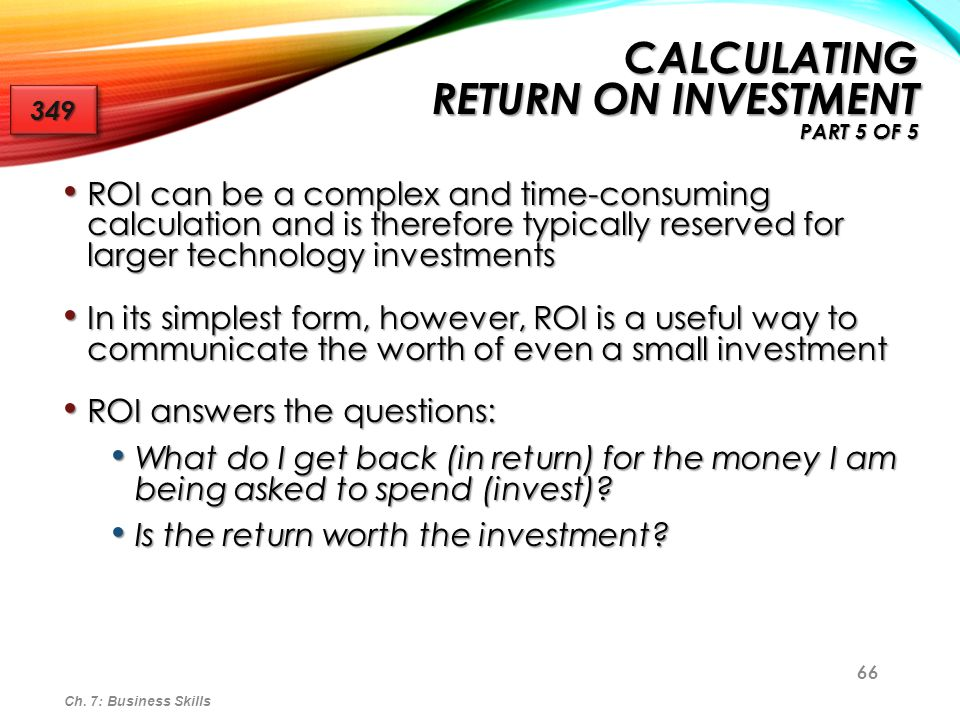 Calculating Return on Investment Part 5 of 5