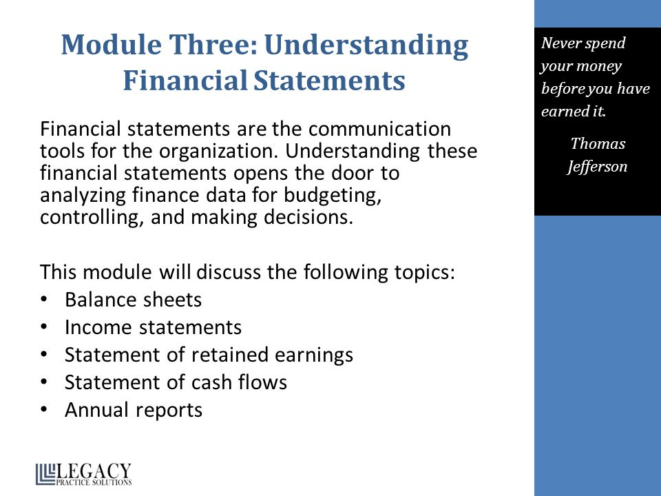 Module Three: Understanding Financial Statements