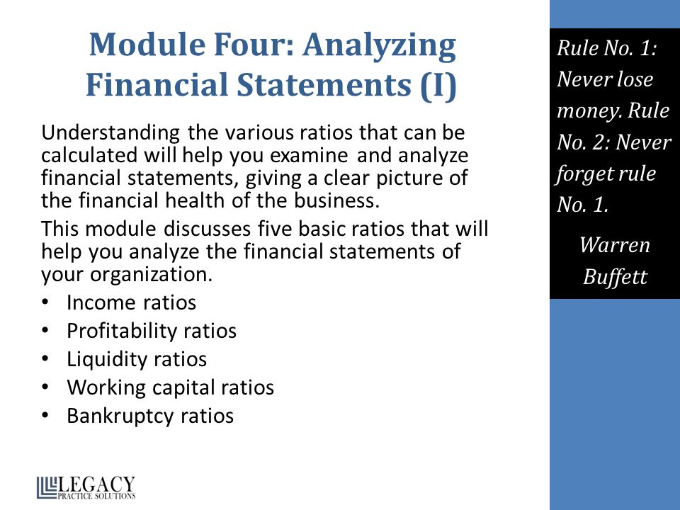 Module Four: Analyzing Financial Statements (I)