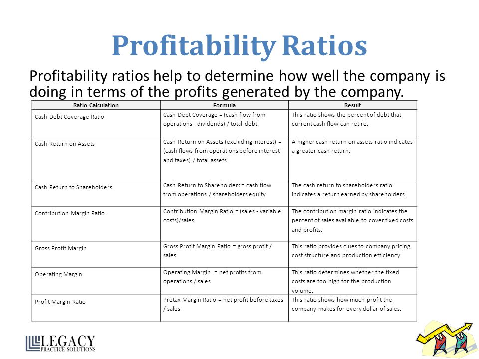 Profitability Ratios Profitability ratios help to determine how well the company is doing in terms of the profits generated by the company.