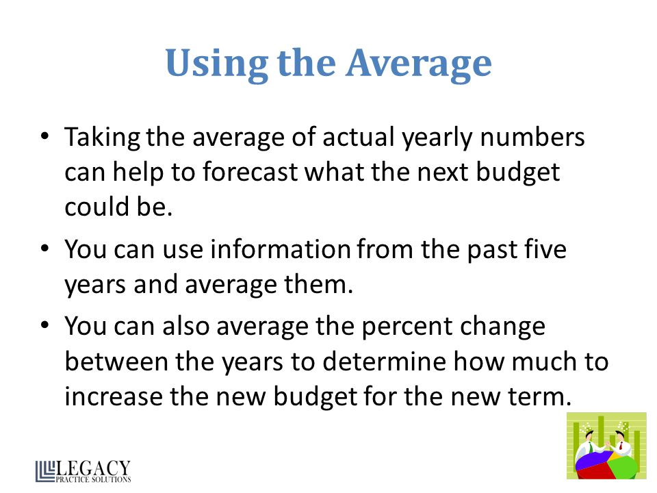 Using the Average Taking the average of actual yearly numbers can help to forecast what the next budget could be.