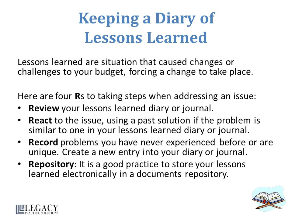 Keeping a Diary of Lessons Learned