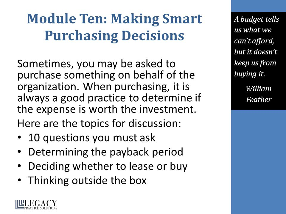 Module Ten: Making Smart Purchasing Decisions