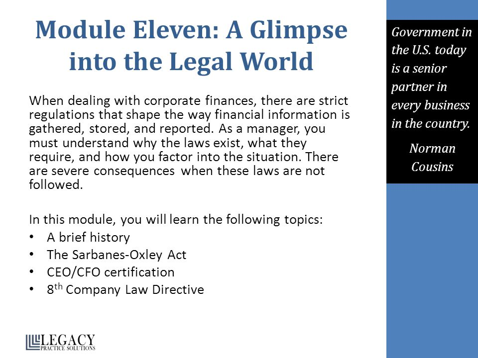 Module Eleven: A Glimpse into the Legal World