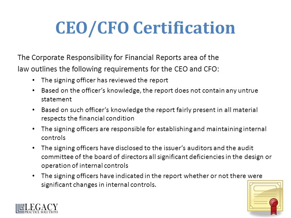 CEO/CFO Certification