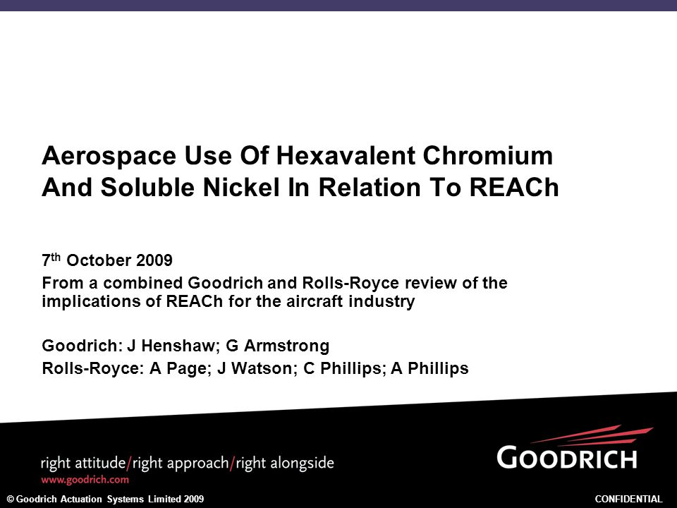 Aerospace Use Of Hexavalent Chromium And Soluble Nickel In Relation To REACh