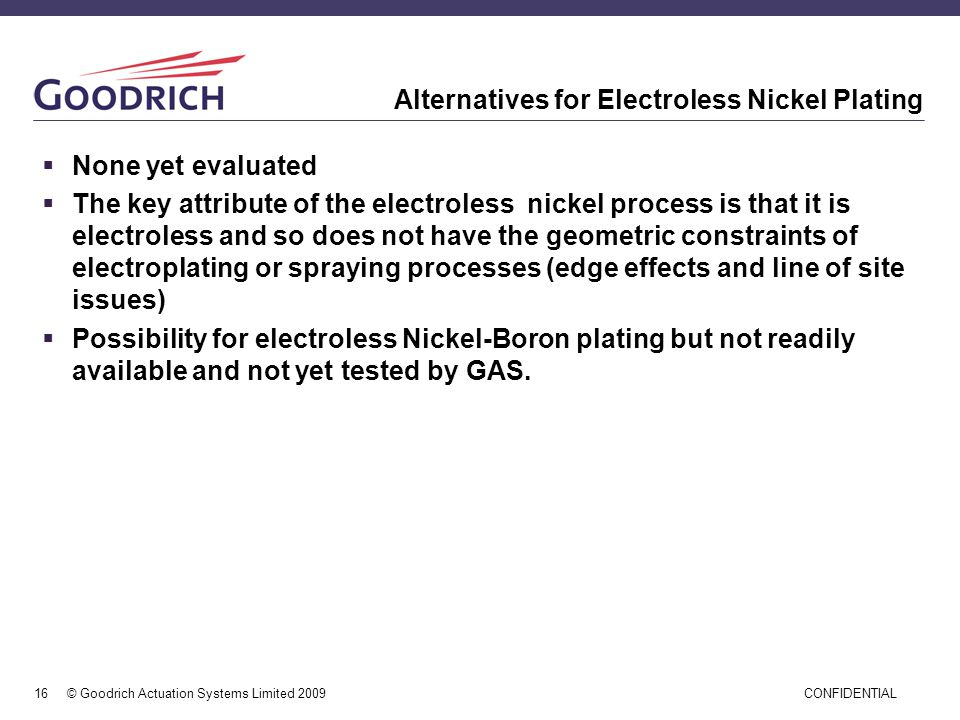 Alternatives for Electroless Nickel Plating