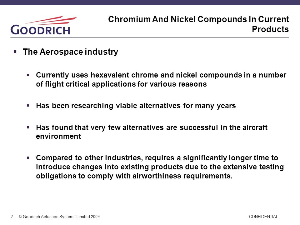 Chromium And Nickel Compounds In Current Products