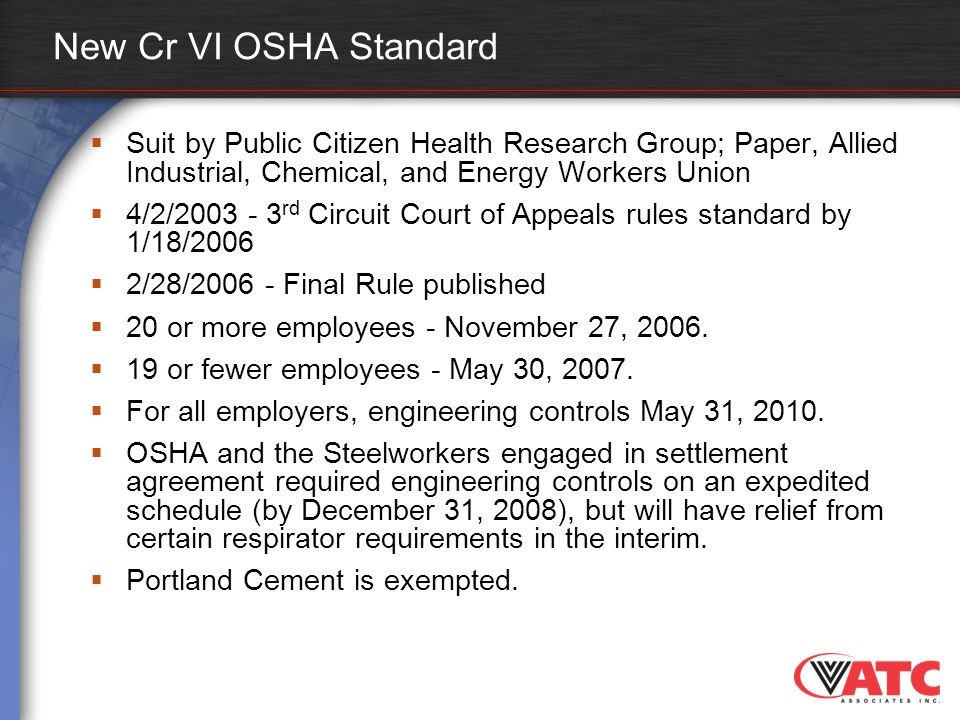 New Cr VI OSHA Standard Suit by Public Citizen Health Research Group; Paper, Allied Industrial, Chemical, and Energy Workers Union.