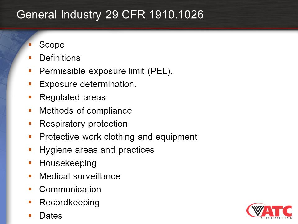 General Industry 29 CFR 1910.1026 Scope Definitions
