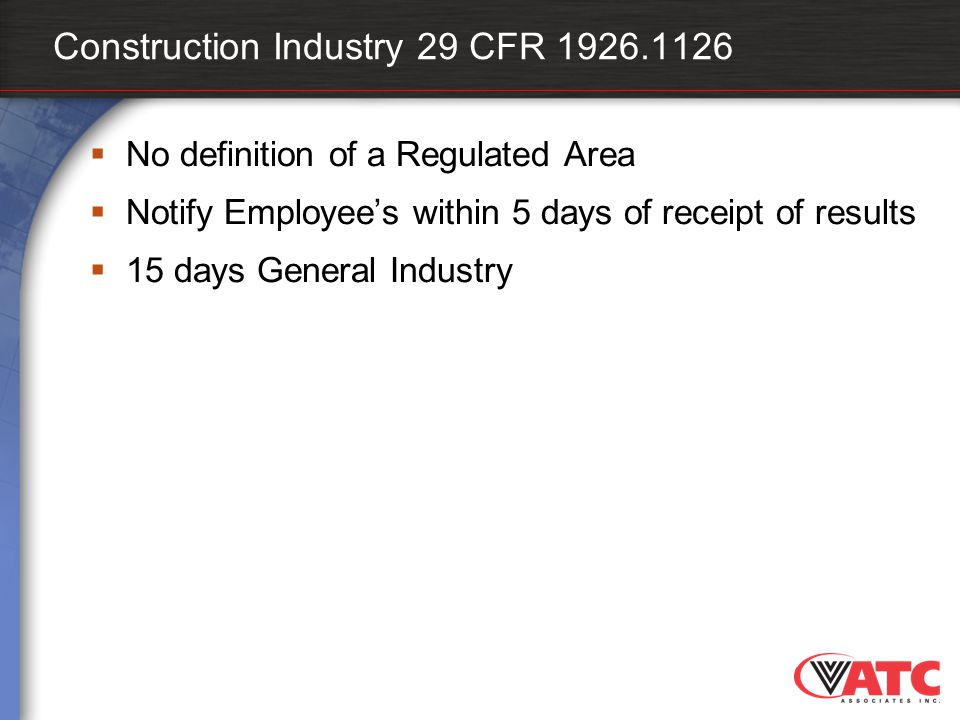 Construction Industry 29 CFR 1926.1126