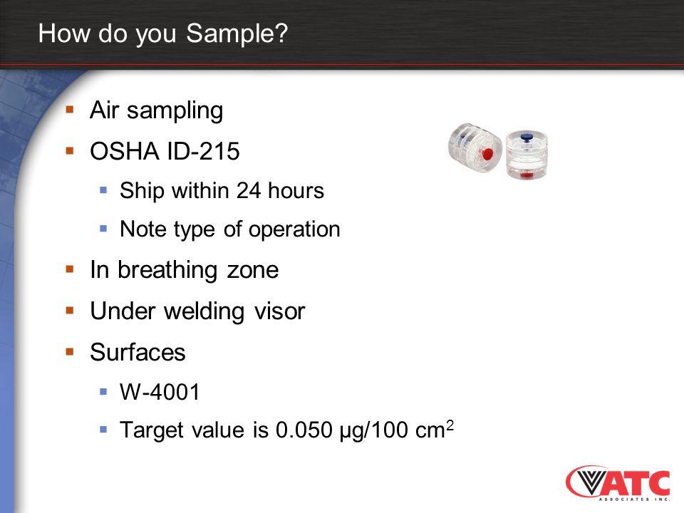 How do you Sample Air sampling OSHA ID-215 In breathing zone