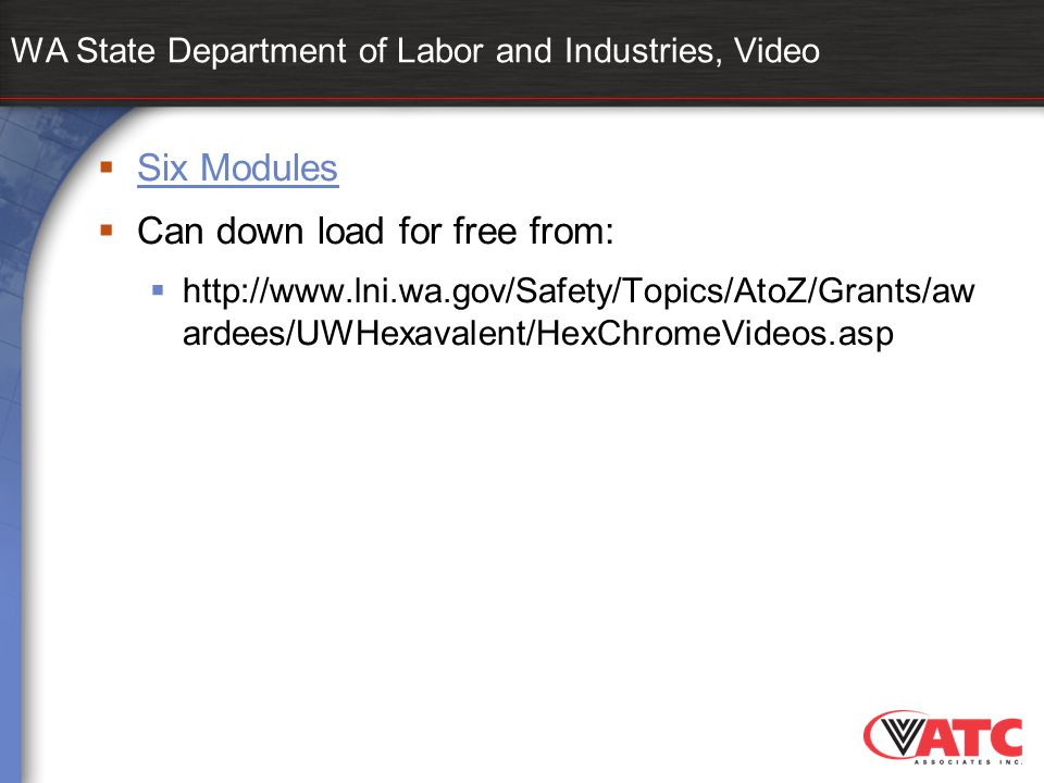WA State Department of Labor and Industries, Video