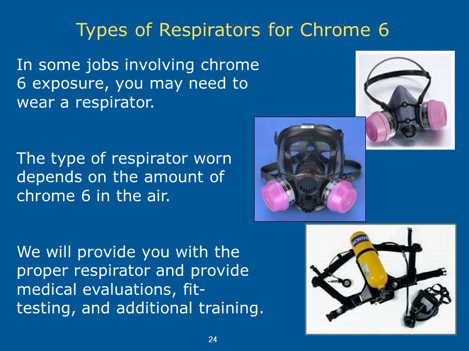 Types of Respirators for Chrome 6