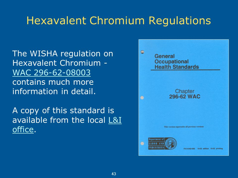 Hexavalent Chromium Regulations