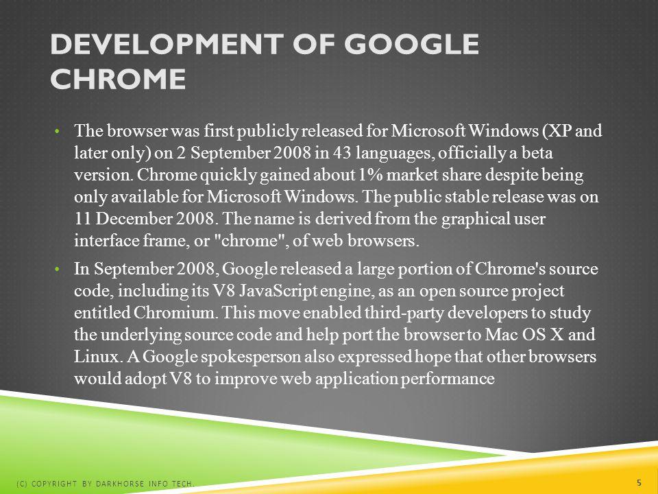 Development of Google chrome