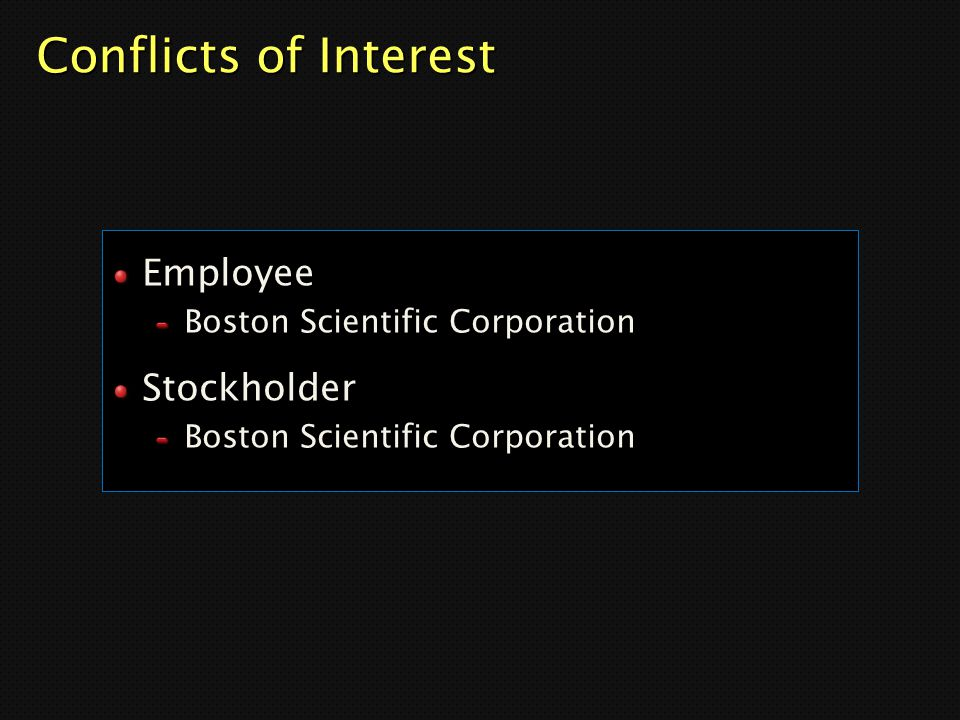 Conflicts of Interest Employee Stockholder