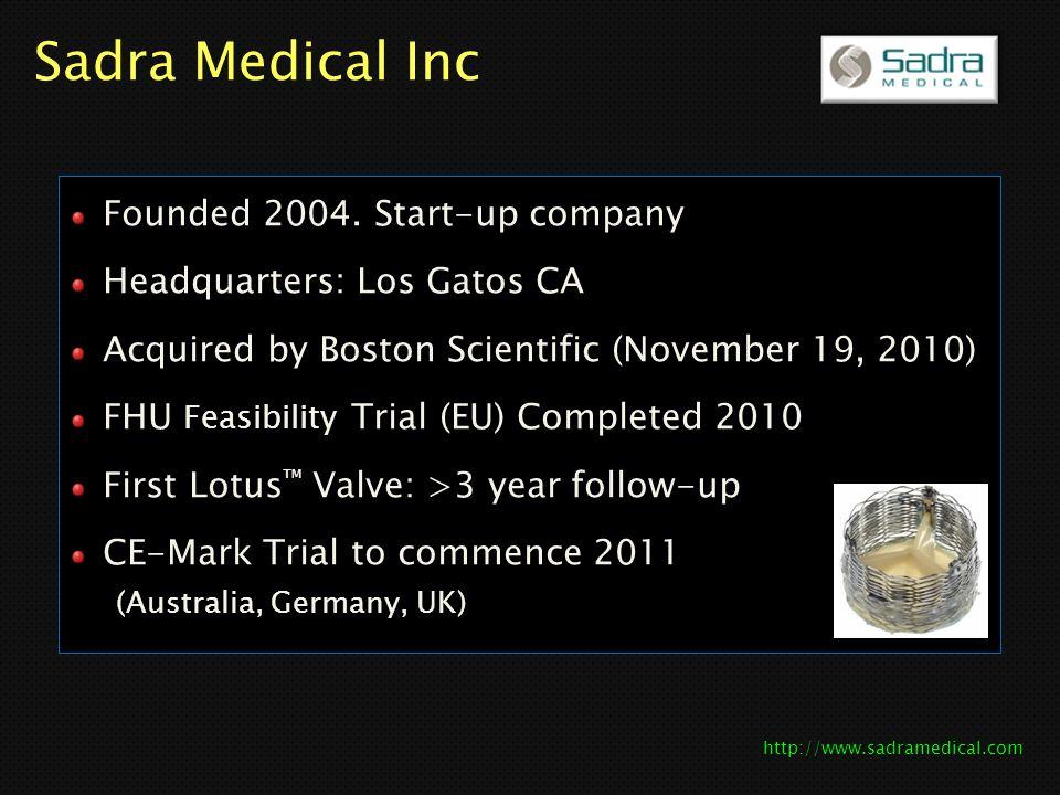 Sadra Medical Inc Founded 2004. Start-up company
