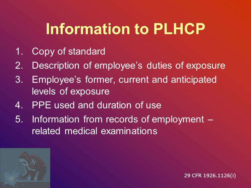 Information to PLHCP Copy of standard