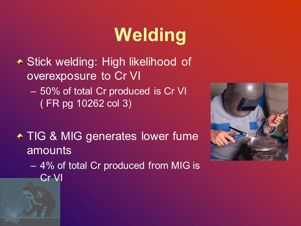 Welding Stick welding: High likelihood of overexposure to Cr VI