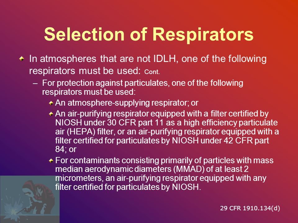 Selection of Respirators