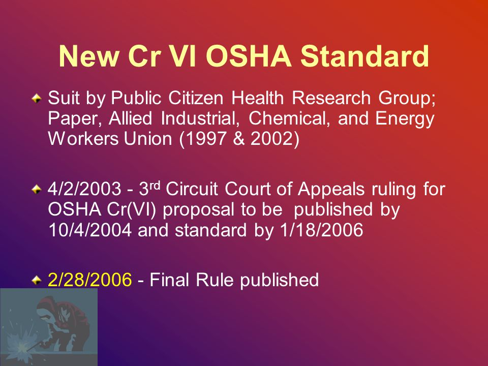 New Cr VI OSHA Standard Suit by Public Citizen Health Research Group; Paper, Allied Industrial, Chemical, and Energy Workers Union (1997 & 2002)