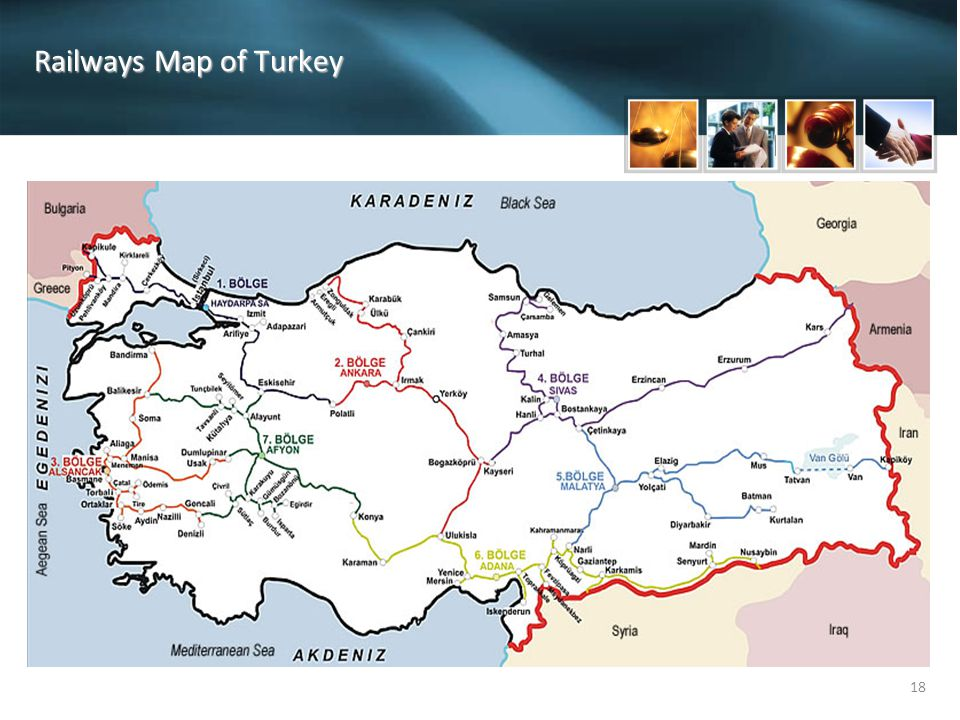 Railways Map of Turkey