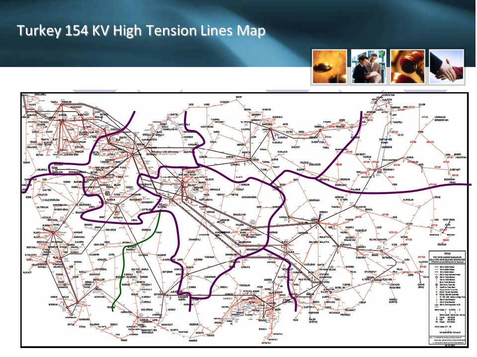 Turkey 154 KV High Tension Lines Map