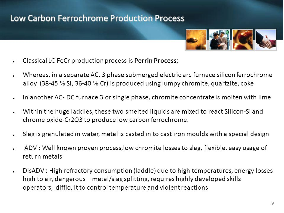 Low Carbon Ferrochrome Production Process