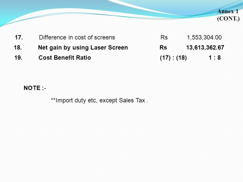 Annex 1 (CONT.) 17. Difference in cost of screens Rs 1,553,304.00. 18. Net gain by using Laser Screen Rs 13,613,362.67.