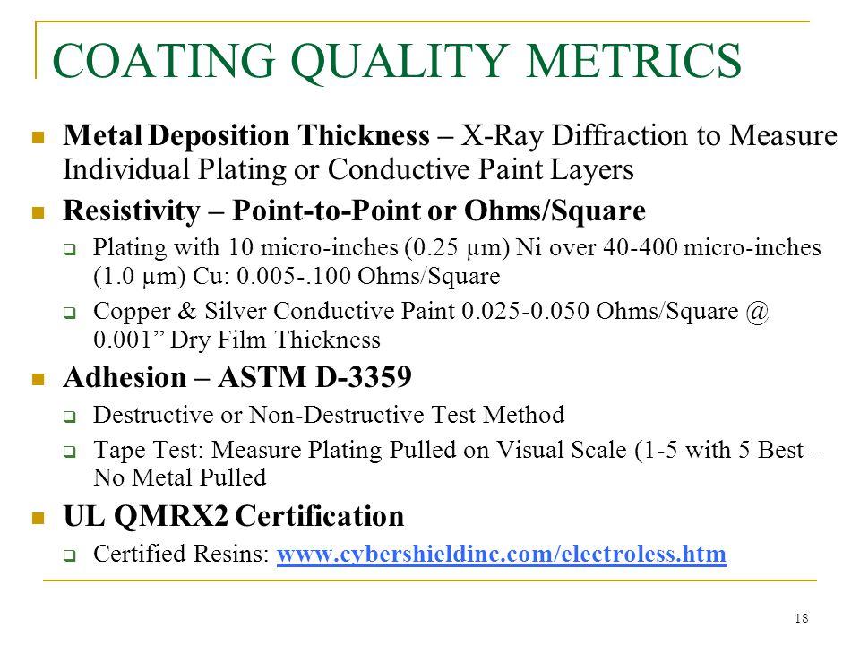 COATING QUALITY METRICS