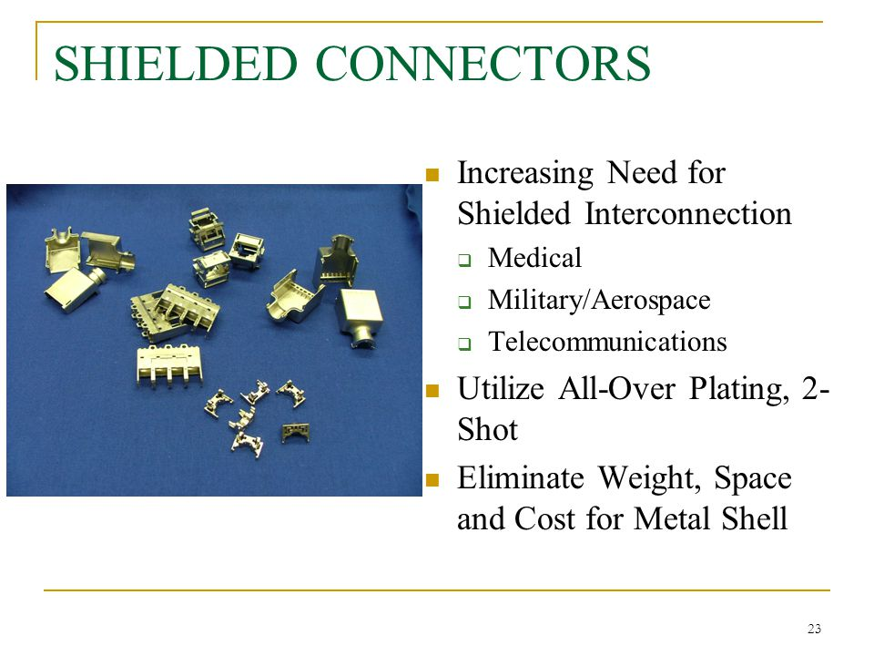 SHIELDED CONNECTORS Increasing Need for Shielded Interconnection