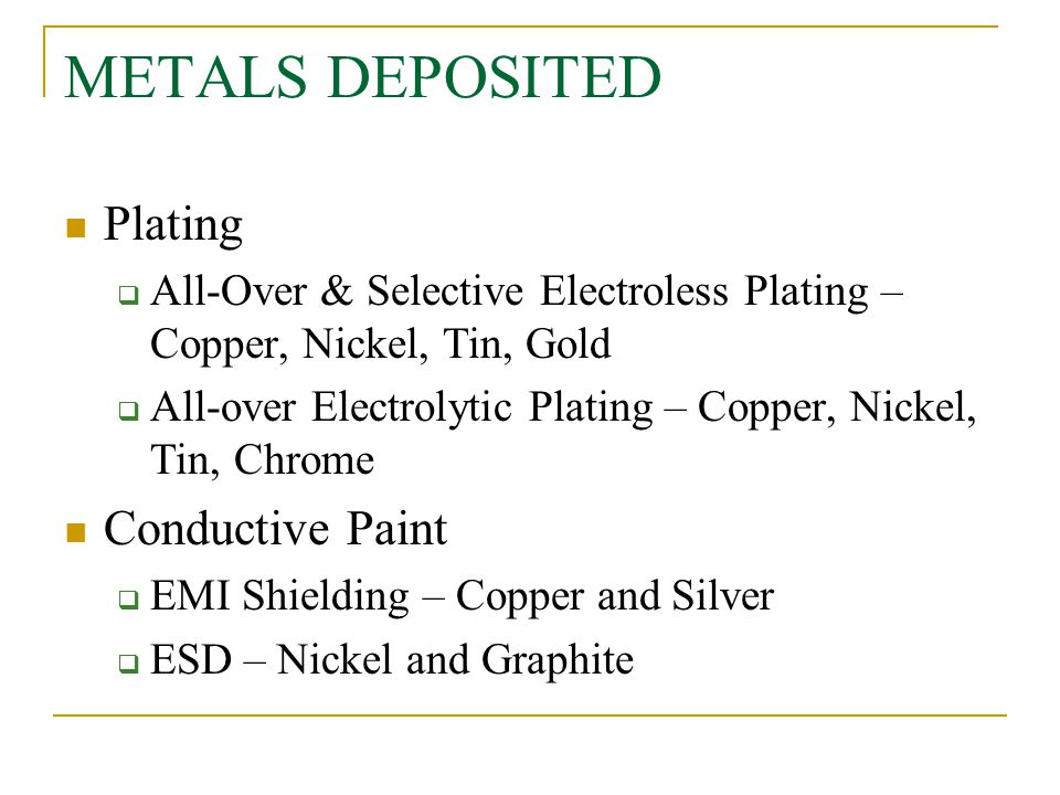 METALS DEPOSITED Plating Conductive Paint