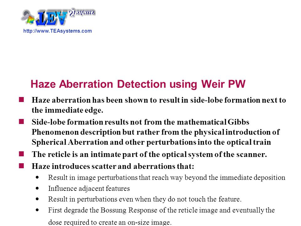 Haze Aberration Detection using Weir PW