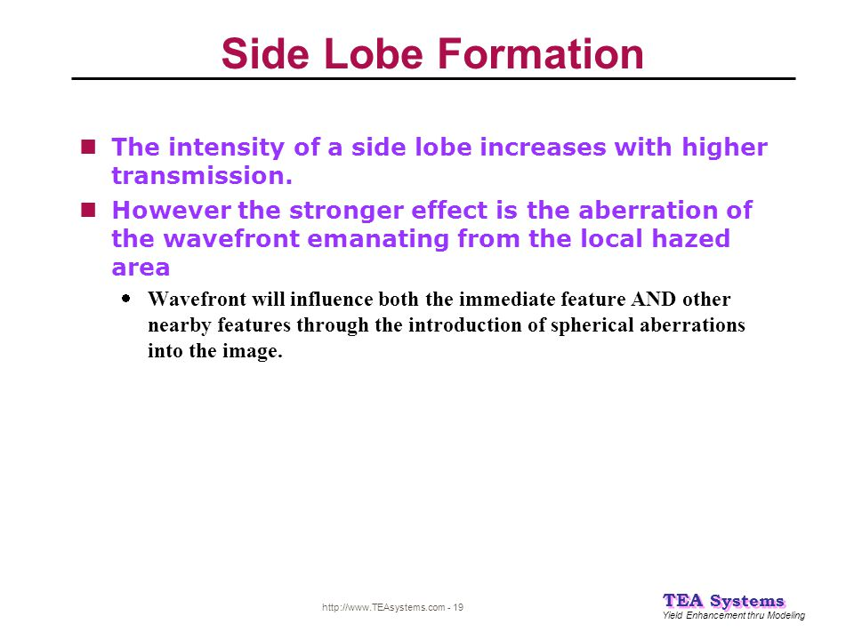 Side Lobe Formation The intensity of a side lobe increases with higher transmission.