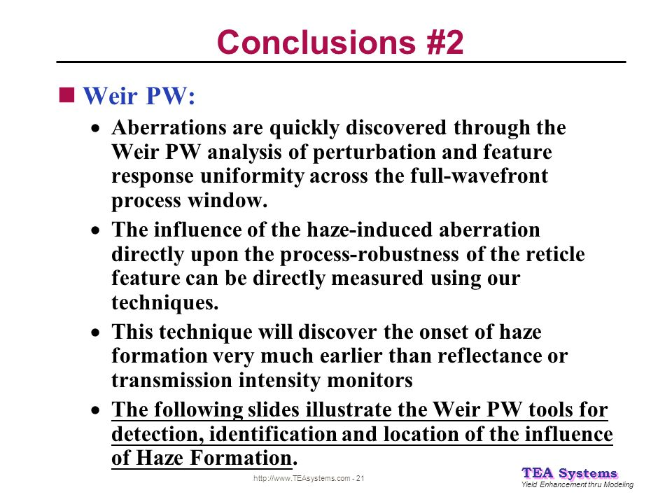 Conclusions #2 Weir PW: