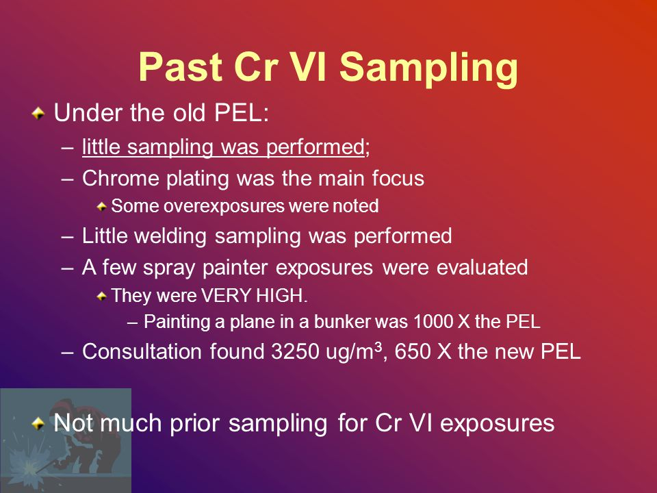 Past Cr VI Sampling Under the old PEL: