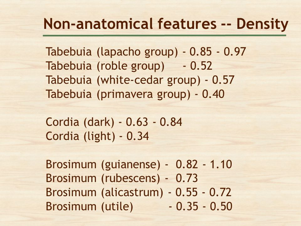 Non-anatomical features -- Density