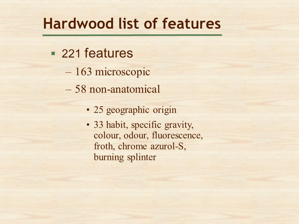 Hardwood list of features