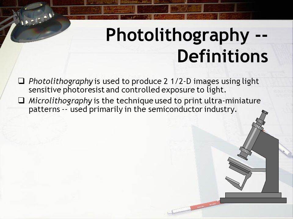 Photolithography -- Definitions