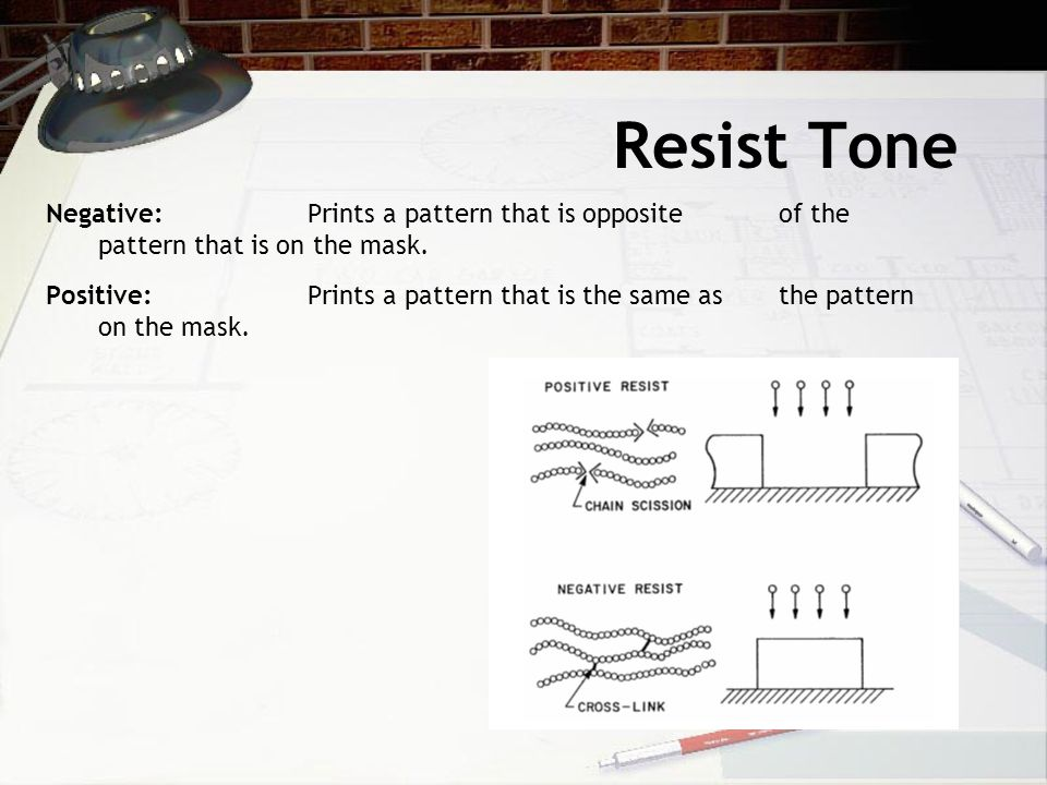 Resist Tone Negative: Prints a pattern that is opposite of the pattern that is on the mask.