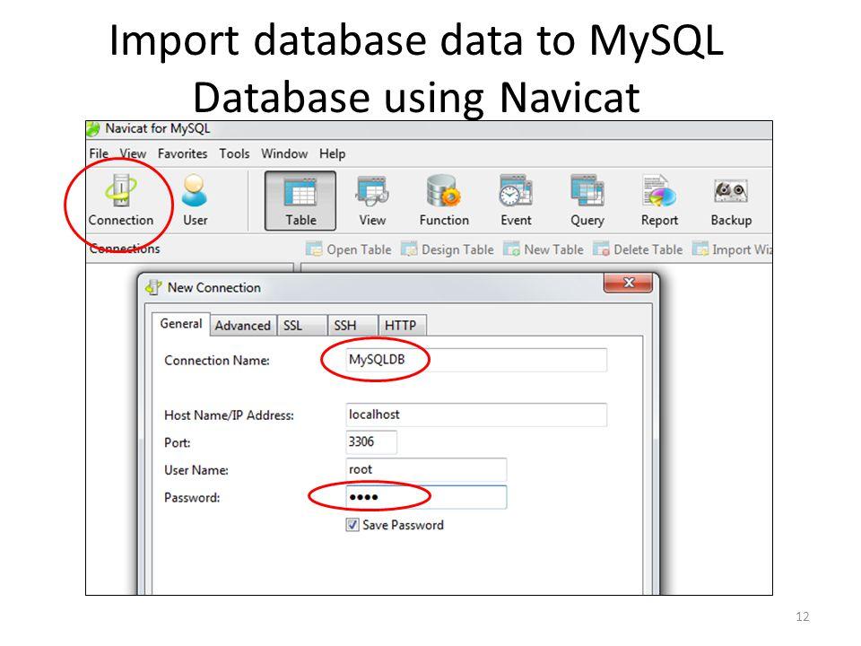 Import database data to MySQL Database using Navicat
