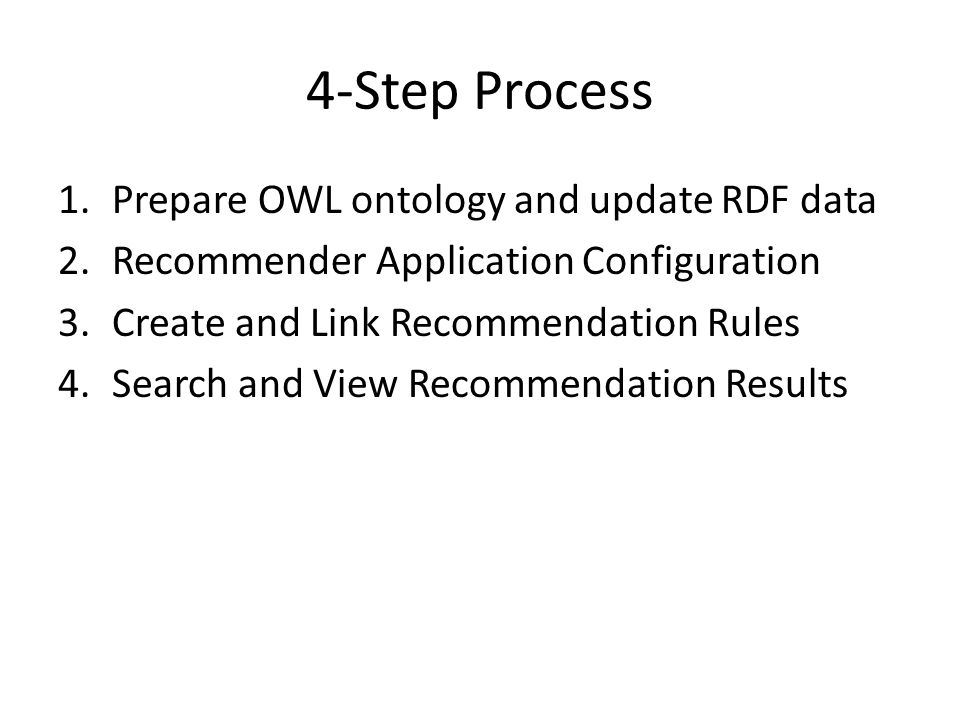 4-Step Process Prepare OWL ontology and update RDF data