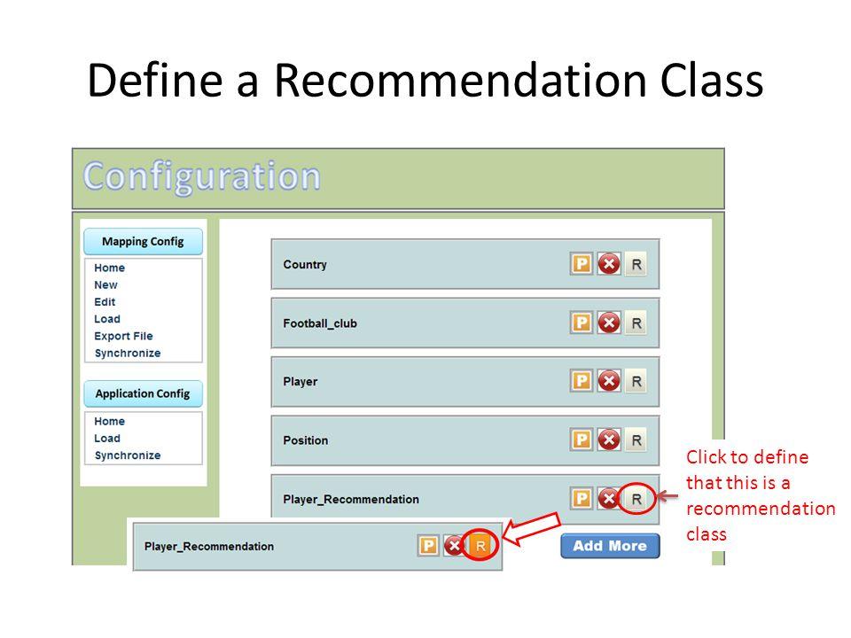 Define a Recommendation Class