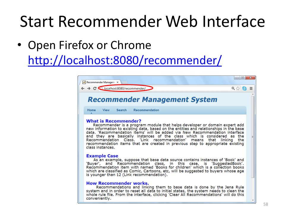 Start Recommender Web Interface
