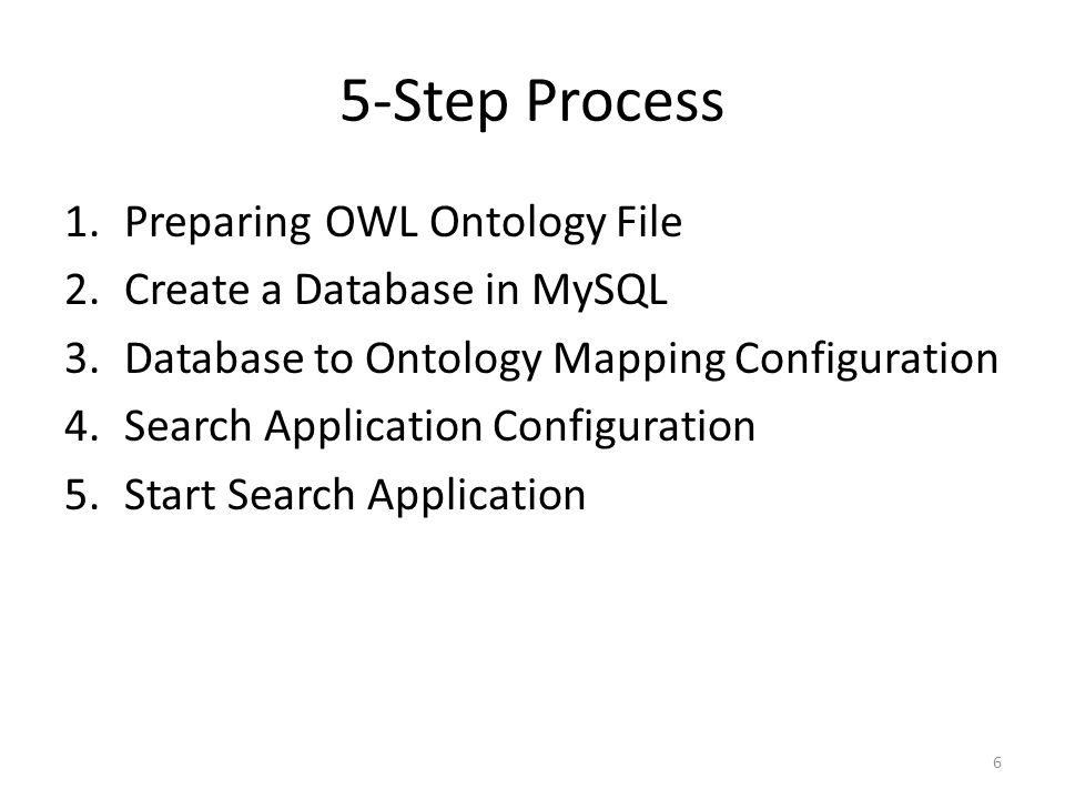 5-Step Process Preparing OWL Ontology File Create a Database in MySQL