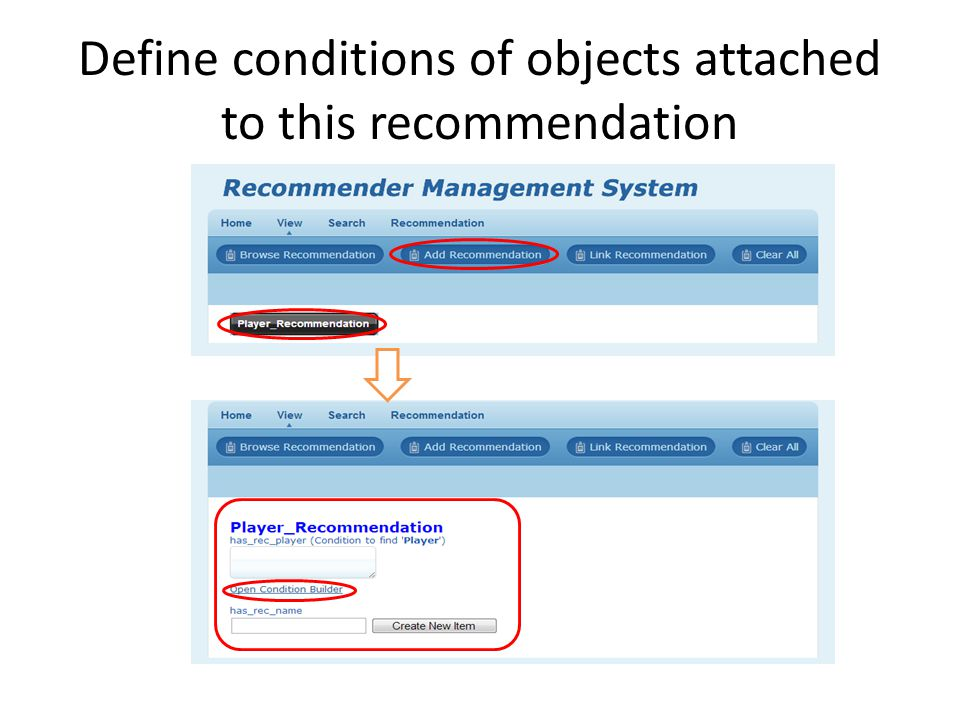 Define conditions of objects attached to this recommendation