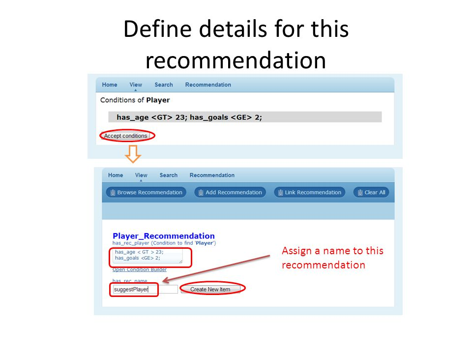 Define details for this recommendation