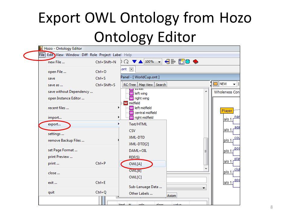 Export OWL Ontology from Hozo Ontology Editor